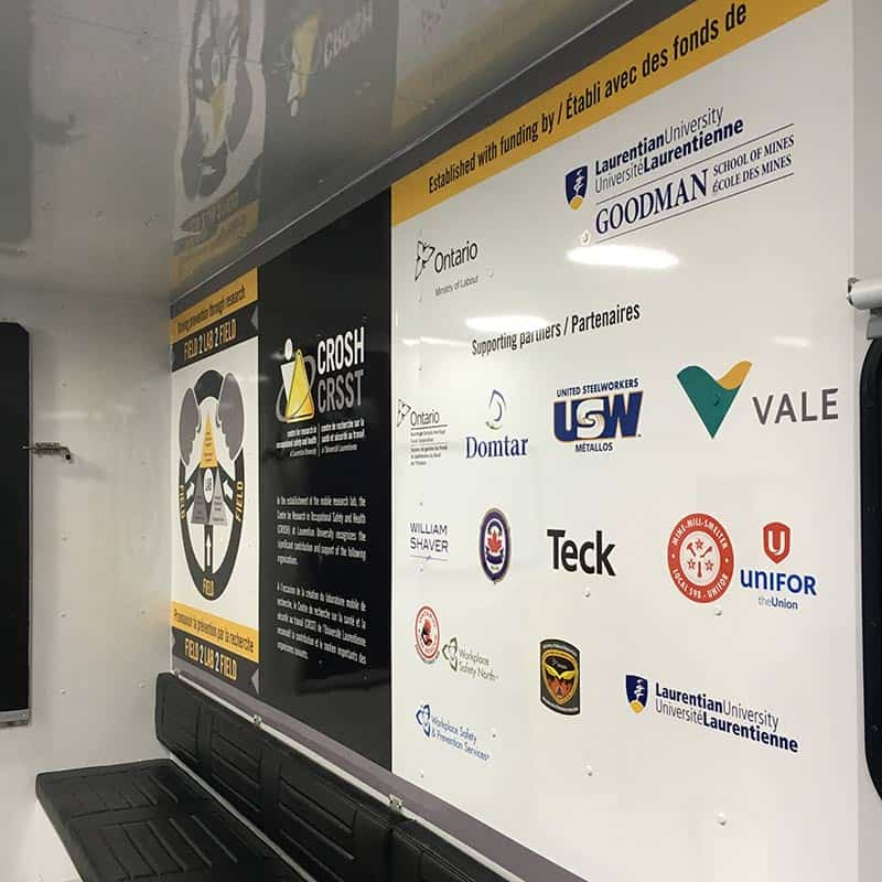 Sign with logos of CROSH sponsors