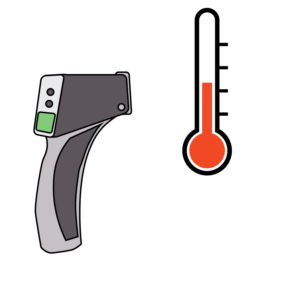 temperature measuring device pointing at a thermometer