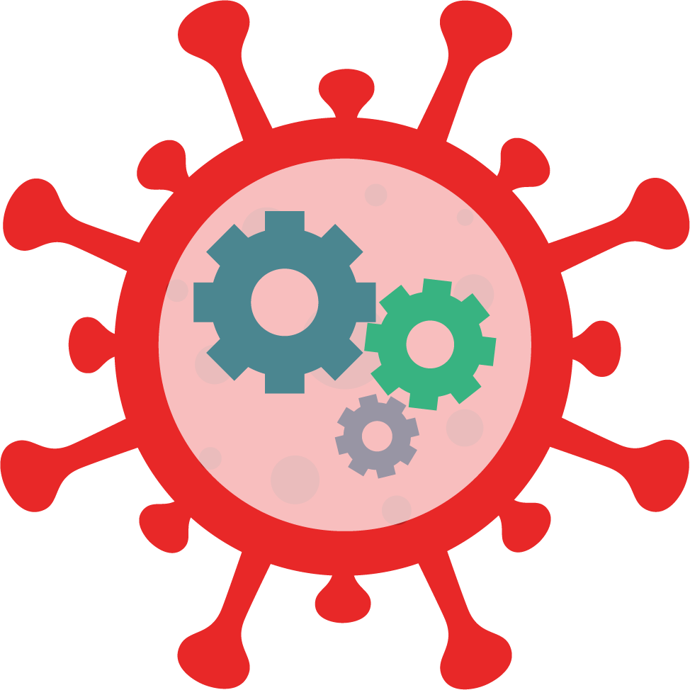 coronavirus particle with gears inside it