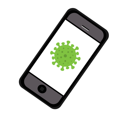 Phone with an image of a coronavirus particle on the screen