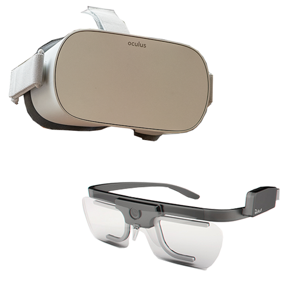 virtual reality goggles next to eye-tracking glasses