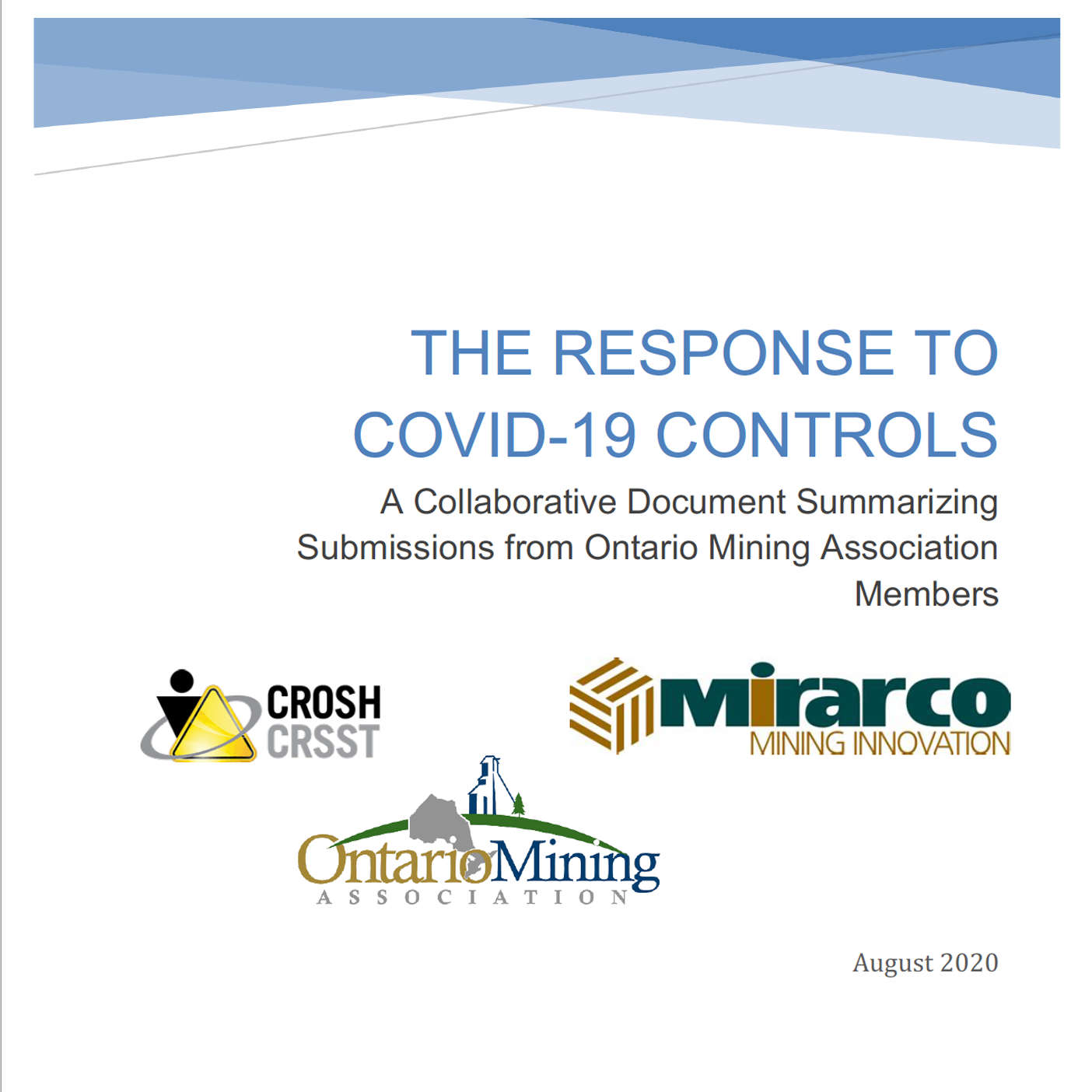 Front cover of a mining report